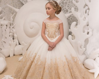 Ivory and Gold Flower Girl Dress - Birthday Wedding party Bridesmaid Holiday Ivory and Gold Lace Flower Girl Dress 21-079