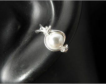 earcuff mother of pearl silver or gold filled wire women