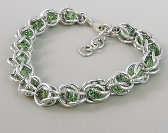 Chainmail Bracelet Chainmaille Swarovski Crystal Passions, Green Swarovski, Captured Chain Mail Bracelet, Green Bracelet 751