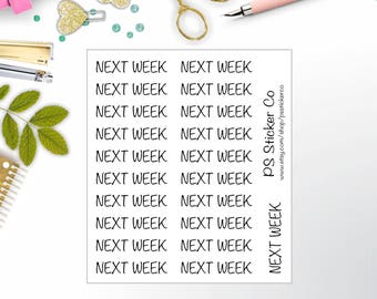 Next Week Planner Stickers - Typography Stickers - Script Stickers - Chore Stickers  - Time Management - 114