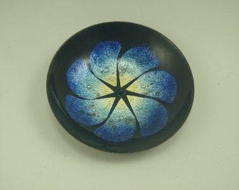 Tiny Blue Enamel Flower Dish