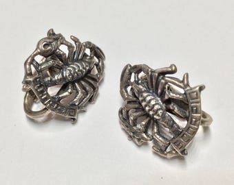 CINI Sterling Silver Earrings Vintage Clip on Scorpio Zodiac
