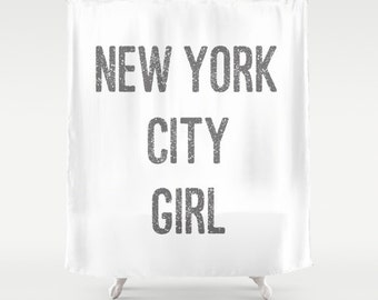 Shower Curtains -  New York City Girl - Shower Curtain - New York Shower Curtain - New York City Shower Curtain - Girls Shower Curtain