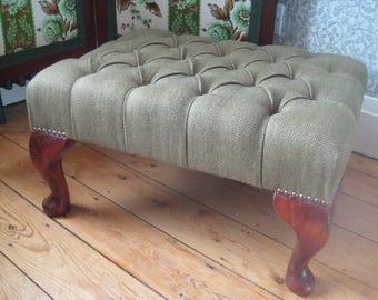 Reupholstered Vintage Chesterfield Deep-Buttoned Stool, Herringbone Tweed Fabric