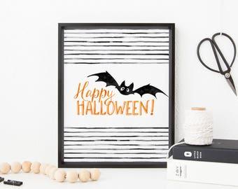 Happy Halloween Printable Wall Art Happy Halloween Decor Happy Halloween Print Watercolor Halloween Bat Decor Halloween Bat Print Printable