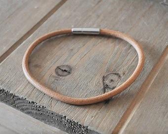 natural LEATHER BRACELET genuine modern subtle thin bronze camel tan plug in end eco fashion boho style wristband simple bracelet