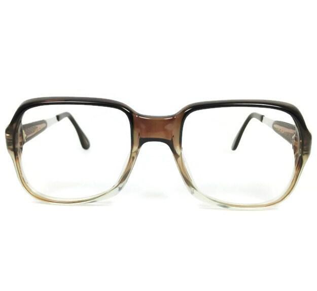 70s Vintage Eyeglass Frame Clear Grey Square Glasses NOS