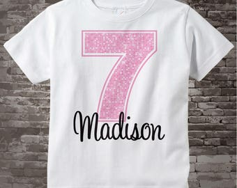 Seventh Birthday Shirt, Light Pink 7 Birthday Shirt, Any Age Personalized Girls Birthday Shirt Pink Age and Name Tee for kids 12012014a