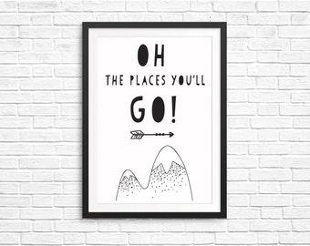 Unisex Kids Bedroom Decor Fun Children Print- Oh The Places You'll Go- Dr Seuss