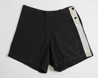 Vintage 1940s Shorts - Black Cotton White Stripe High Waist - Medium