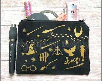 Wizard HP Makeup Bag - Geek Makeup Bag - Custom Makeup Bag - Personalized Makeup Bag - Fantasy Makeup Bag