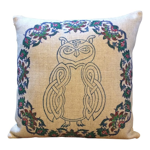 Hand Block printed linen pillow cover with celtic animal pattern, decorative cushions, owl pillow , cottage style, organic textile