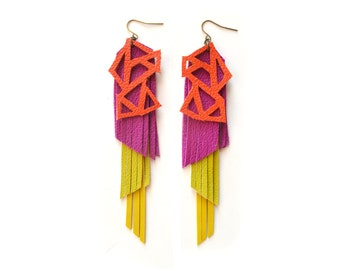 Geometric Earrings, Chartreuse, Yellow and Dark Fuchsia Fringe Earrings, Triangle Earrings, Long Orange Leather Earrings, Geometric Jewelry