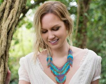 Bohemian Blue Cascading Necklace
