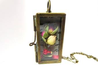 Shadow box necklace,bridal jewelry, boho pendant,Handmade necklace,brass shadow box necklace,wearawble shadowbox