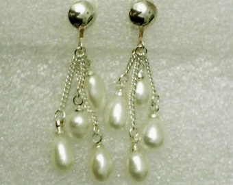 Cultured White Pearl Dangles on 925 Sterling Silver Clip On Earrings June Birthstone