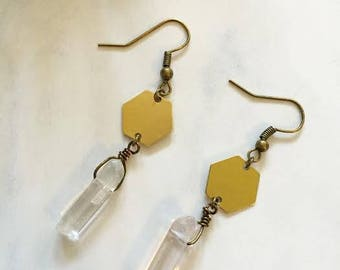 Hexagon Quartz Earrings