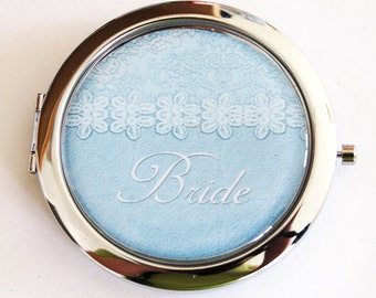 Bride compact mirror, mirror, bridal shower, Something Blue, wedding shower gift, Wedding, Personalized, Bride, gift for bride (2184)