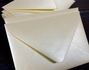 50 Cream Champagne Metallic Euro (Pointed) Flap Envelopes - A7, A2, A1 (Single Samples availabe in quantity drop down)