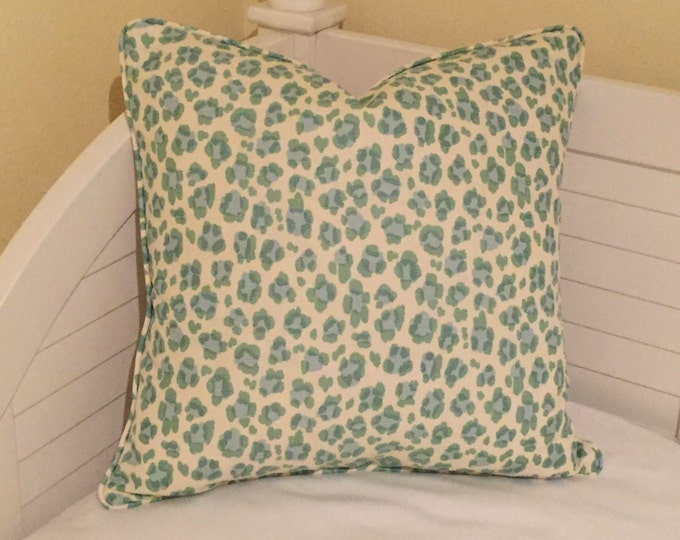 SALE, FREE Shipping, Quadrille China Seas Conga Line Animal Print in Aqua and Green Designer Pillow Cover with Piping, 20x20