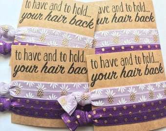 Bachelorette party , bridesmaid favor,  bridal shower, To have and to hold your hair back, hangover kit, Elastic hair ties