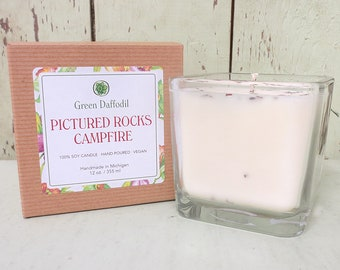 Pictured Rocks Campfire Soy Candle - 12 oz. Glass Cube - Green Daffodil - Hand poured -CG