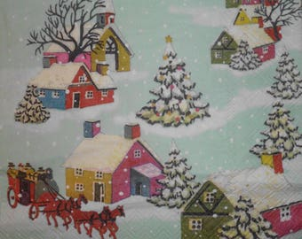080 snow village napkin