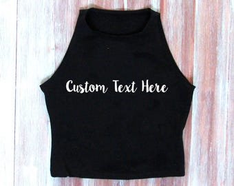 Individuelle bestickte Crop Top-personalisierte Top - Custom Text Top-Custom oben
