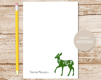 personalized notepad . deer notepad . personalized stationery . writing paper . stationary . deer note pad