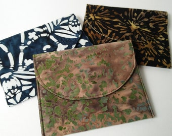 Credit Card Case, Earbud Case, Batik Cotton Coin Purse, Purse Organizer, Mini Wallet, Travel Case