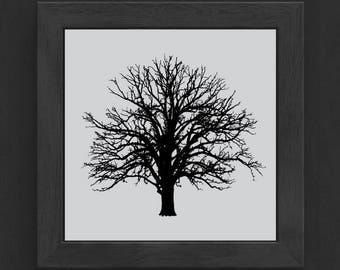 Tree Print, Bare Tree, Tree Art, Digital Print, Square Print, Black, Gray, Nature Print, Wall Art, Print At Home