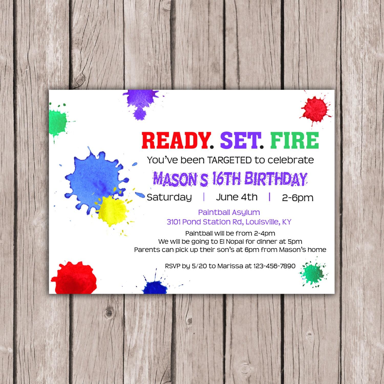 Paintball Party Invitations Birthday Invites girls birthday ...
