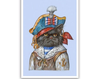 Black Cat Art Print - the Pirate - Lovely Cat Gifts, Children Room Art - Sea and Pirates - Cat Portraits by Maria Pishvanova