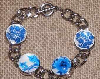 Blue and White Snap Button Charm Bracelet