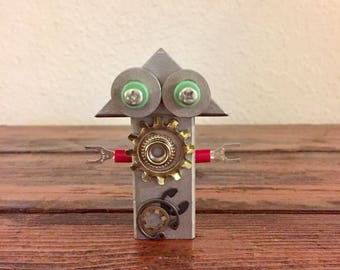 Sully Silverbot / Tiny Robot Sculpture / Found Object Art / Assemblage Art / Recycled Robot / Handmade