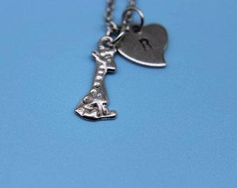 Giraffe Necklace Silver Giraffe Charm Necklace Giraffe Jewelry Giraffe Gifts Initial Charm Personalized Giraffe Pendant