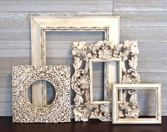 4 Piece Antique White Frame Gallery - Open Wall Frames - Frame Wall Decor