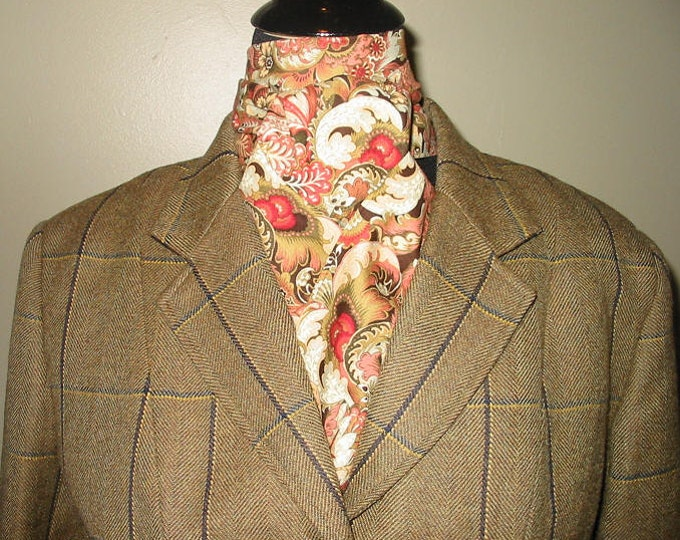Sage-Rust Flowers Paisley Stock Tie