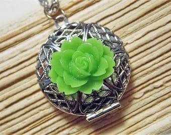 Green and Silver Flower Locket