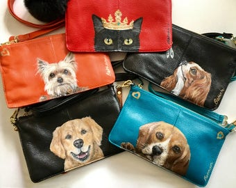 Handpainted pets ,leather cross body bags