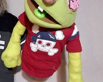 Professional Custom Muppet-style, Rod Hand Puppet - Fleece Zombie with brain