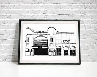 Brixton Ritzy Cinema Print / Black and White / Monochrome Art Print / London Architecture Print / Christmas Gift / Movie Lovers / Film Fan