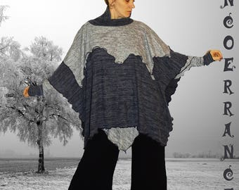 Poncho, cape 'Grey winter...'