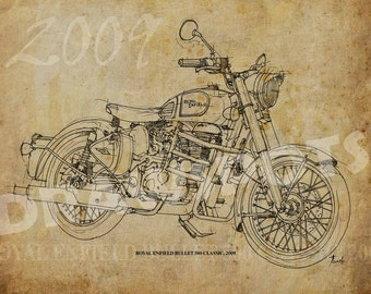 ROYAL ENFIELD Bullet 500 Classic 2009, 8x11in to 60x42in Based on my Original Handmade Drawing