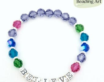Believe bracelet, Word bracelet, Inspirational bracelet, colorful bracelet, Canadian seller, beaded handmade bracelets, believe jewelry
