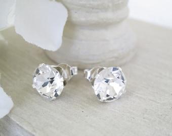 Swarovski rhinestone stud earrings, Simple 8mm crystal post wedding earrings, Vintage style post bridal earrings, Bridesmaid earrings