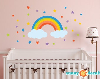 Rainbow Fabric Wall Decal, Rainbow Wall Sticker with Stars and Clouds, Repositionable, Reusable, Non Toxic - Sunny Decals
