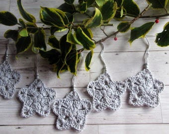Crochet Stars, Christmas Tree Decorations, Set Of Five, Handmade Stars, Cotton Stars, Christmas, Home Decor, Tree Decorations