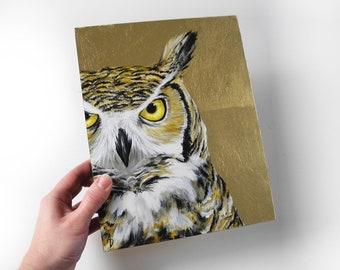 Great Horned Owl painting - realistic wildlife painting - owl decor - metallic gold glam owl art - hollywood regency - original fine art