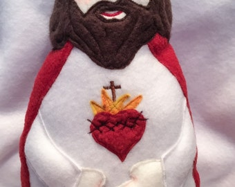 Sacred Heart of Jesus Handmade Soft Saint Doll, Jesus Doll.
